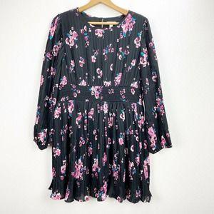 Leith Black Floral Pleated Dress Long Sleeve XL